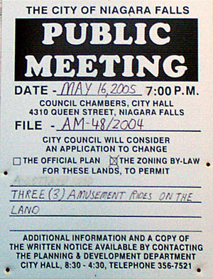 Publc Meeting Notice for Amusement Rides