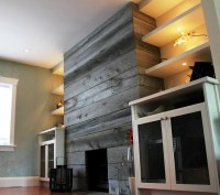 Reclaimed Wood Fireplace Wall   Home Design Ideas