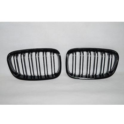 Gloss Black M Style Twin Bar Kidney Grille For BMW F20 F21 1 Series 11-14