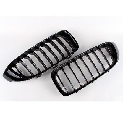 For BMW F32 F33 4-Series Set of 2 Front Grilles M Performance Gloss Black OES