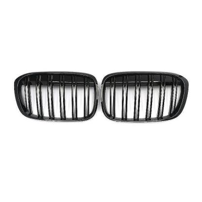 Gloss Black Double Slat Front Kidney Grille Grill For BMW F48 X1 2015-2018