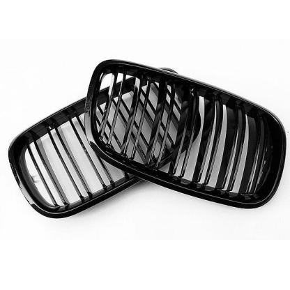 Gloss Black Dual Line Front Bumper Grille Grill For BMW E70 X5 E71 X6 2007-13