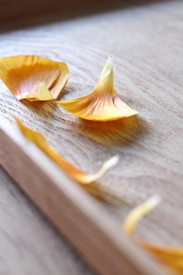 Verwelkte bloemblaadjes op houten dienblad van Urban Culture - via Accessorize your Home