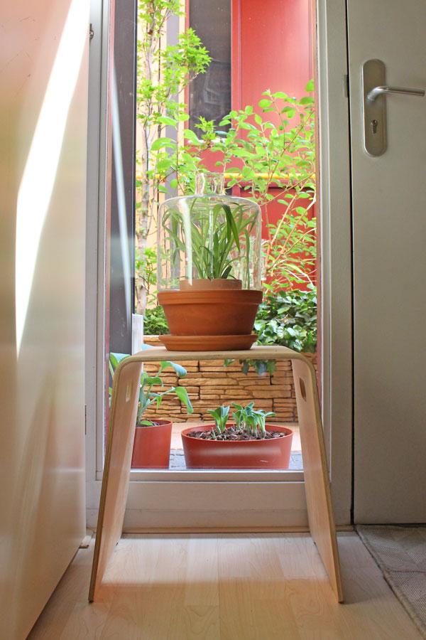Doorkijkje van de hal naar de binnentuin met hosta's in Greenville potten - via Accessorize your Home