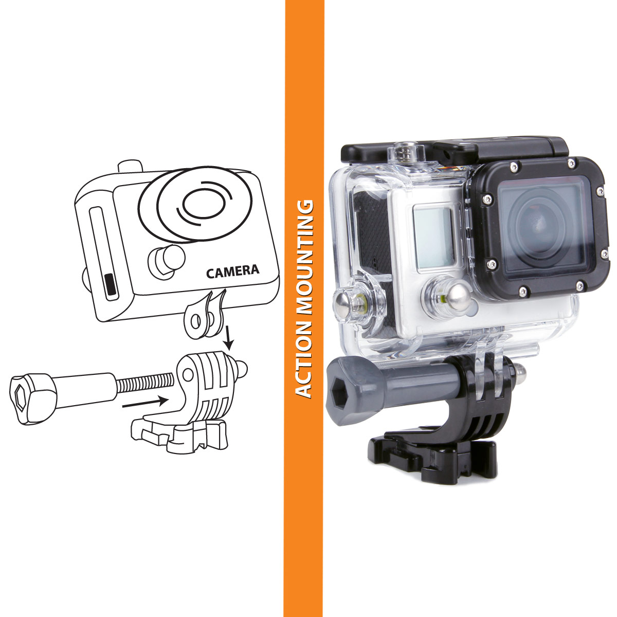 Head Point Of View Action Camera Mount With J Hook And