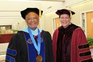 Alamance Community College President Algie Gatewood and Elon University President Connie Book in 2019.