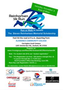 Reinhartsen Run logo with text reading Saturday November 6 rain or shine
