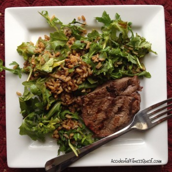 Flat Iron Steak with Whole Grain Arugula Salad