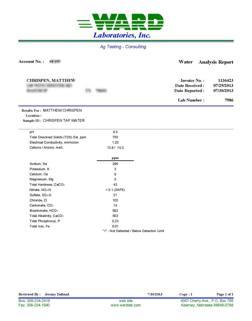 Figure 2- a Ward Labs Water Quality report for Brewers.