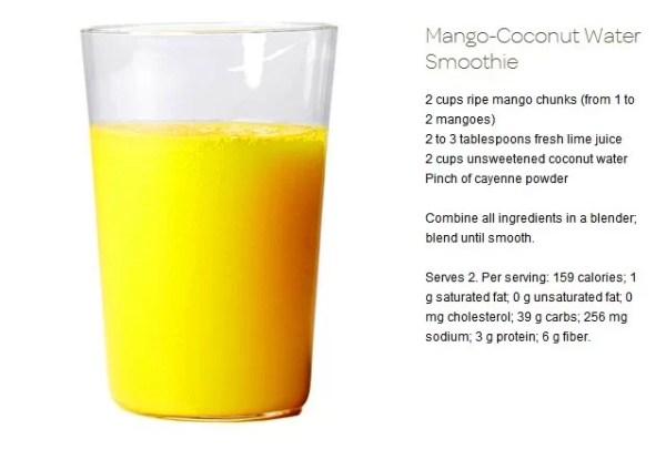 7 Detox Smoothies Recipes: mango and coconut