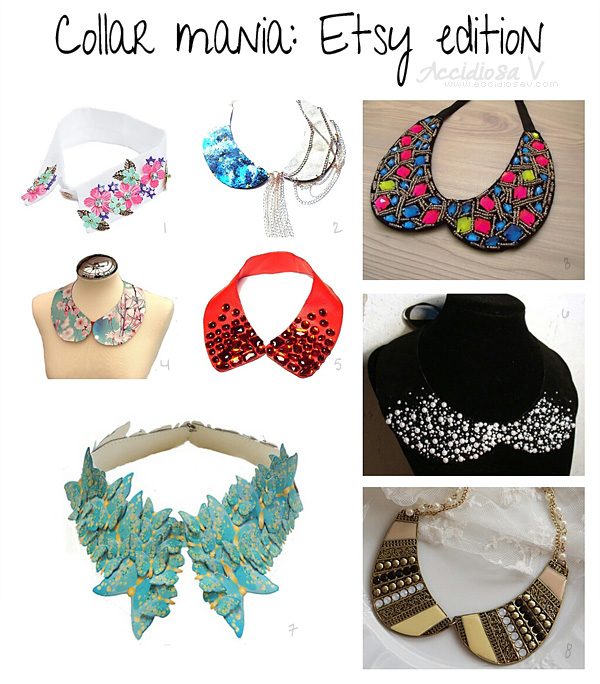 The Collar Trend: gems, studs, pearls and metal to upgrade your wardrobe's basic pieces. Check this Etsy handmade finds!