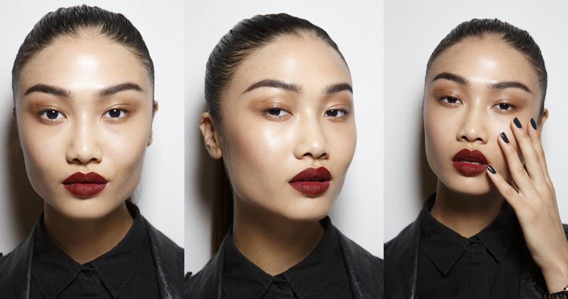 Backstage Byblos Runway Fall 2014 - Beauty - Dark lips