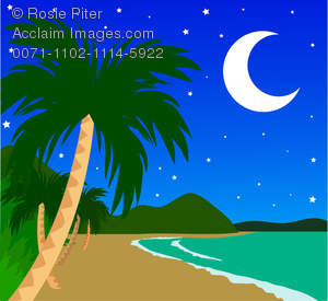 tropical island night clipart