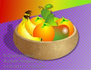 Clipart Illustration of A Bowl of Fruit on the Kitchen Table