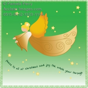 Clip Art Illustration Of A Christmas Angel With Joy And