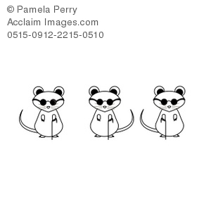 Clip Art Illustration of 3 Blind Mice From the Nursery Rhyme