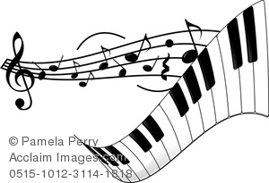 Clip Art Image of a Piano Keyboard and Sheet Music