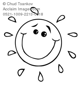 a happy and smiling cartoon sun in black and white clipart