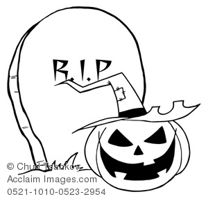 a spooky jack o lantern in front of a tombstone in black
