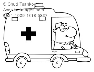 black and white medic driving an ambulance clipart & stock