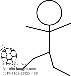 stick figure playing soccer clipart & stock photography