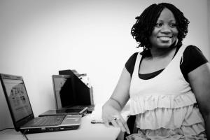Tolulope Popoola at her desk