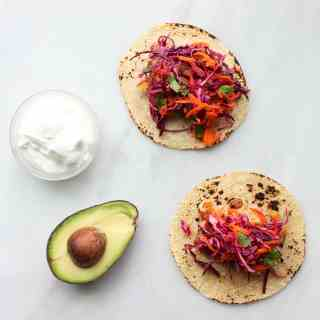 Easy Fish Tacos with Red Cabbage + Carrot Slaw