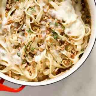Creamy Cauliflower Fettuccine with Walnuts and Caramelized Onions