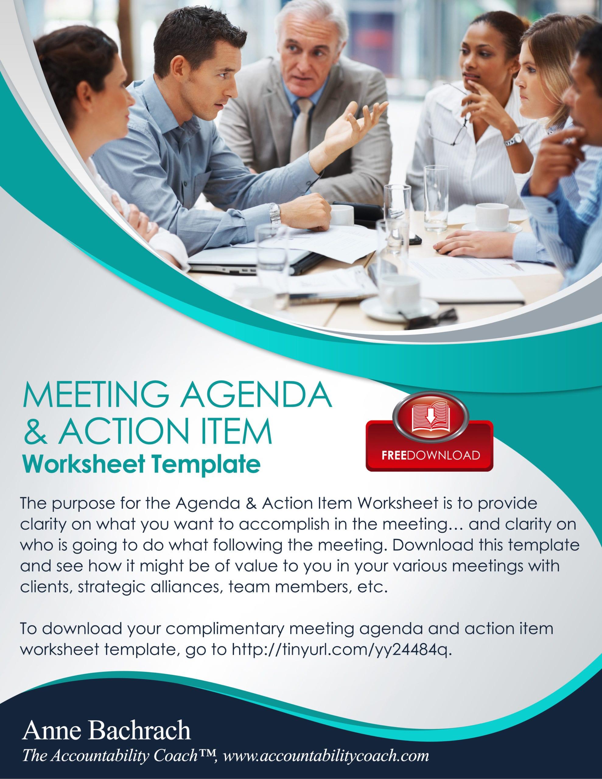 Meeting Agenda Amp Action Item Worksheet Template