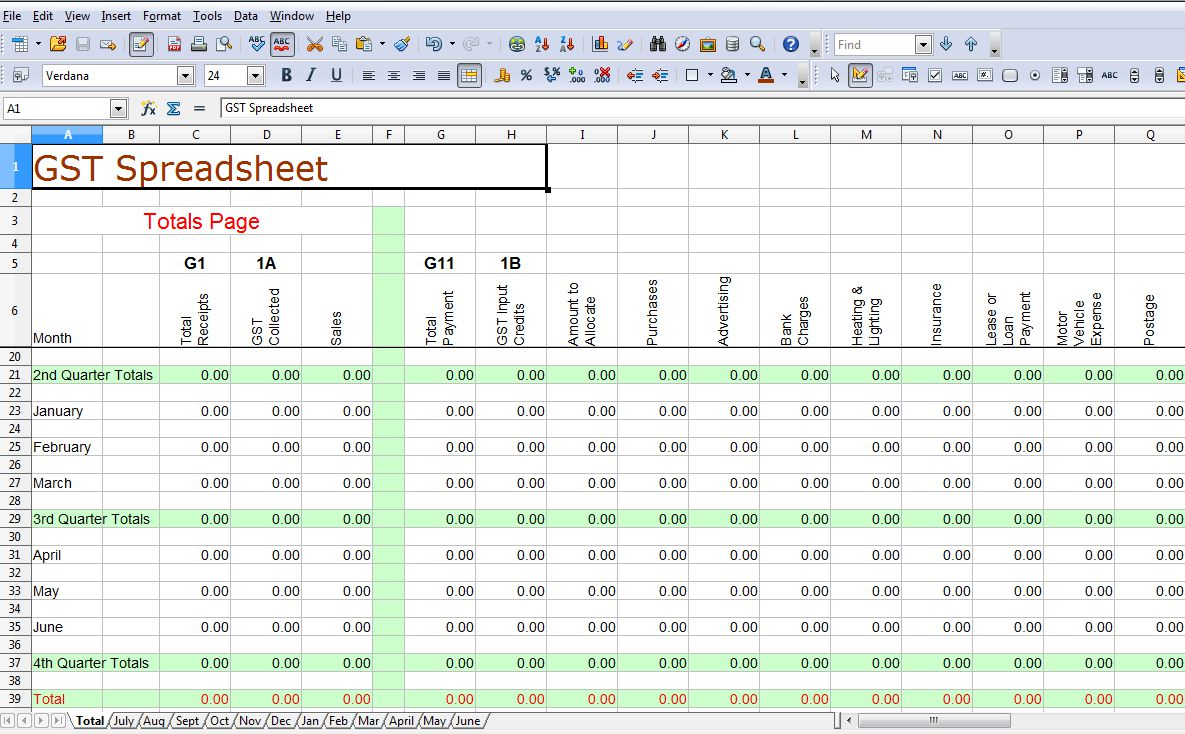 Simple GST Spreadsheet Australia | Business Activity Statements |