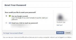 Facebool reset password