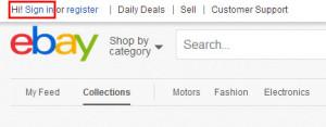 eBay login