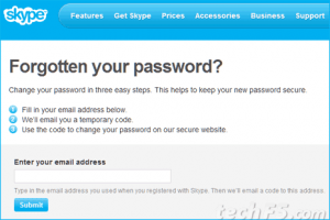 Skype forgot password