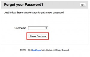 Rediff reset password