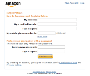 The sign up form