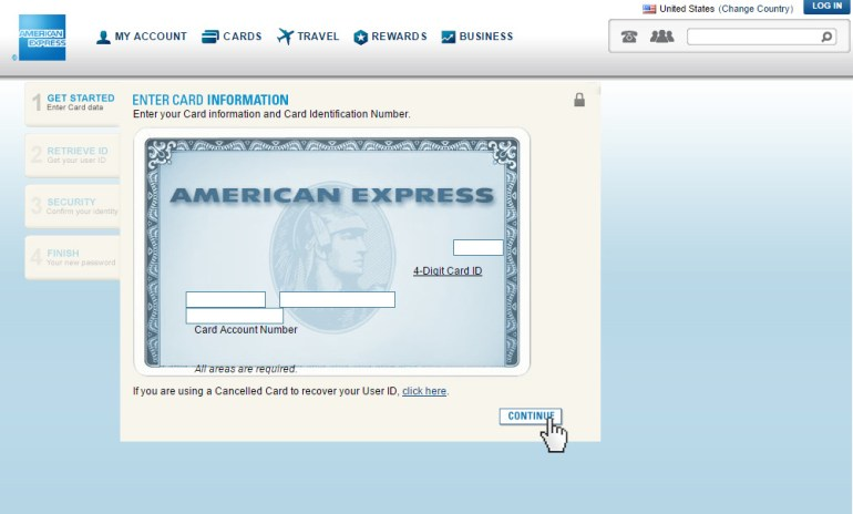 American Express reset password