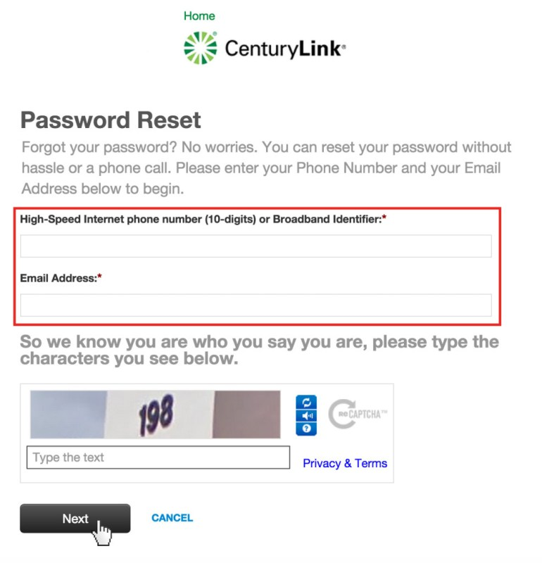 CenturyLink password reset