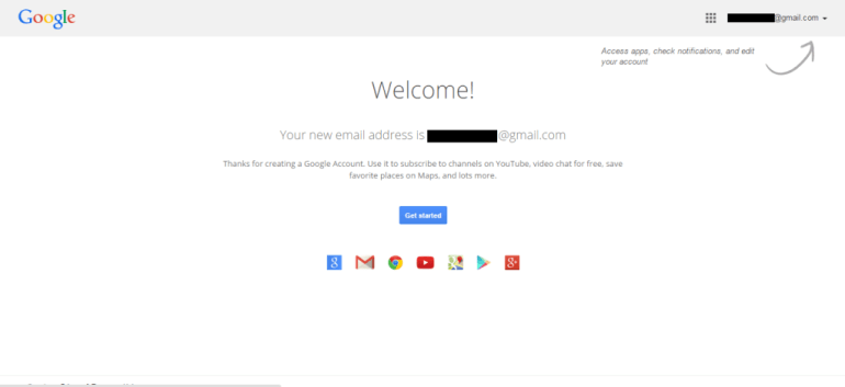 Google welcome page