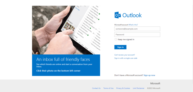 Hotmail homepage