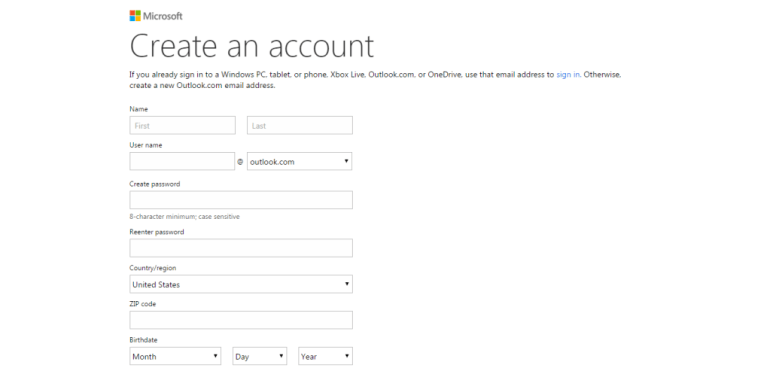 Hotmail how to sign up