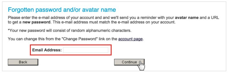 IMVU Reset password
