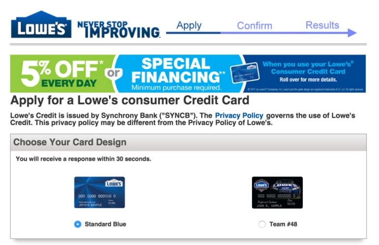 Lowes credit card sign up