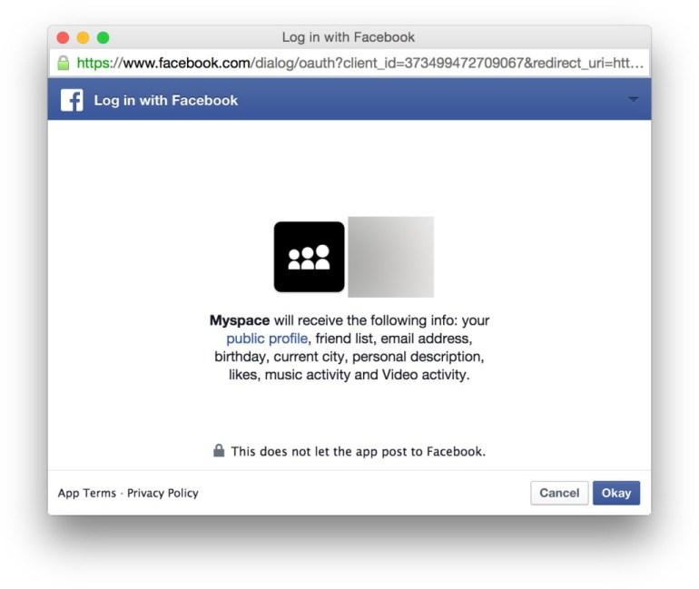 Myspace Facebook login