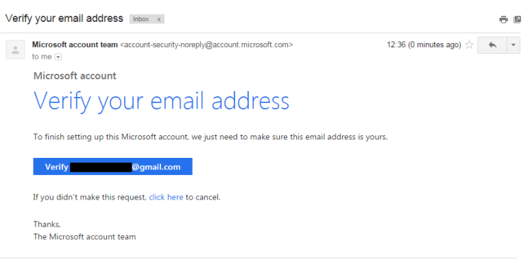 Office 365 email verification