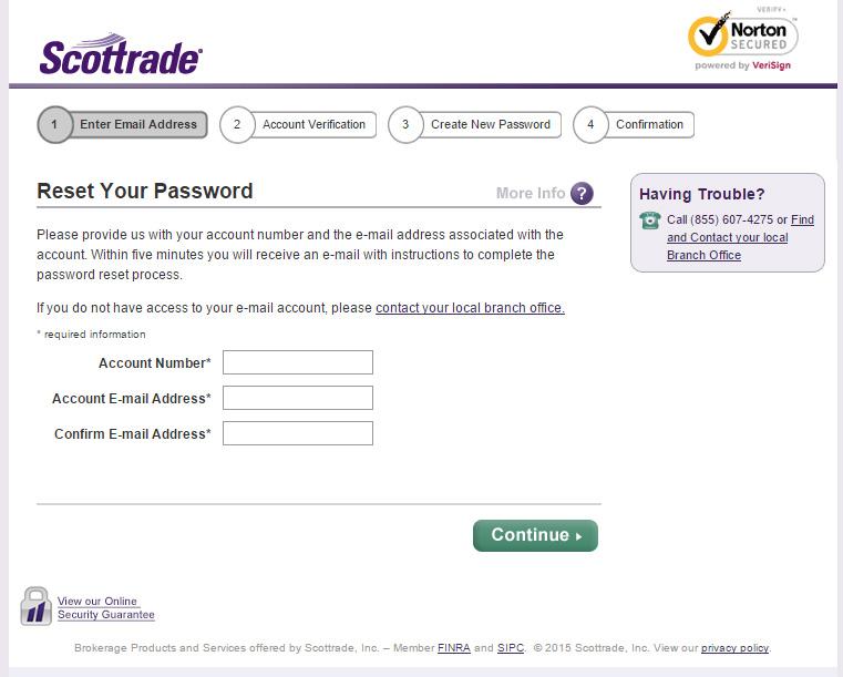 Scottrade reset password