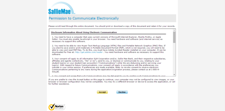 Sallie Mae terms and conditions