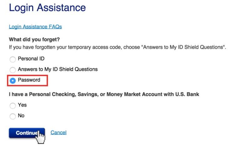 US Bank reset password