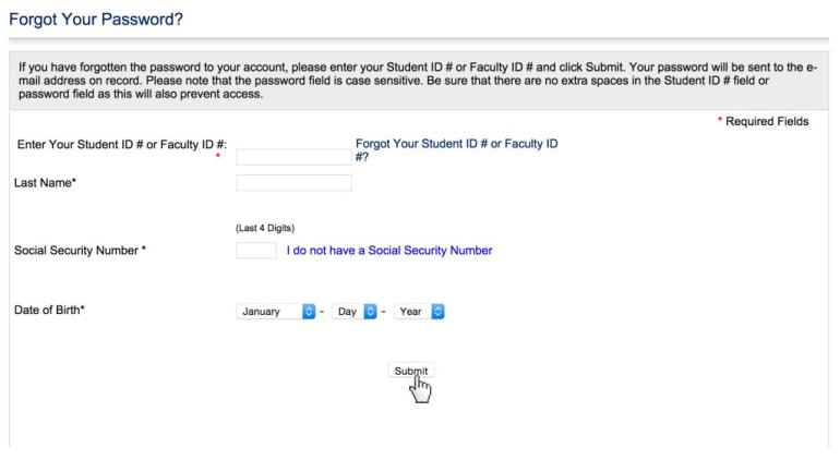 AMU Password reset