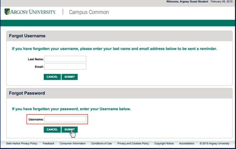 Argosy University password reset