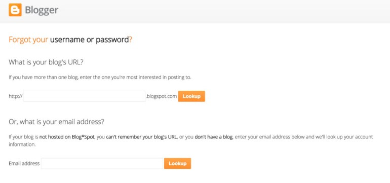 Blogger password reset